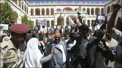 President Bashir at the presidential palace in Khartoum, 5 March