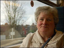 Commuter Ann Johnson on the train