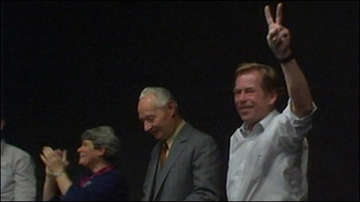 Vaclav Havel celebrates