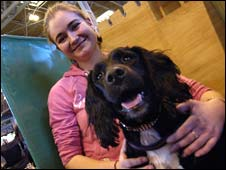 Nicci Hindson and dog Murphy at Crufts