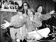 Peter Tork, centre, and fellow Monkees in June 1967
