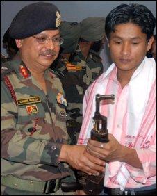 Surrendered Assamese rebel (right)