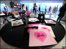 Barbie products on display at the store on 5 March 2009