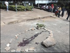 Stones surround the area where a university student was killed in Nairobi