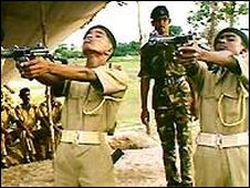 Sri Lankan recruits being trained by an Indian soldier