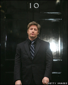 Jamie Oliver outside No 10