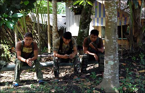 MILF fighters in a rebel camp in Mindanao