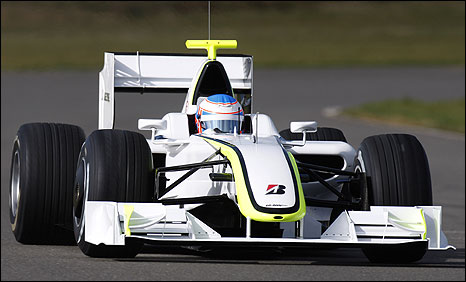 Jenson Button at the wheel of the new Brawn F1 car