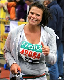 Jade Goody running in the 2006 London Marathon