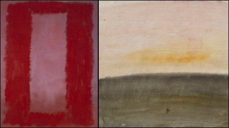 Mark Rothko. Red on Maroon 1959 (left). JMW Turner. A Pink Sky above a Grey Sea, circa 1822  (right)