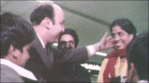 Pakistani husband welcomes his wife to Britain 1975