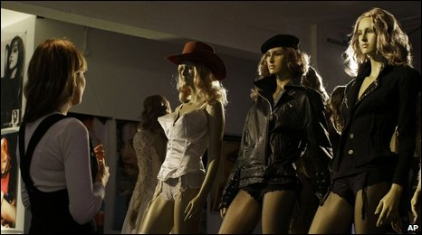 Mannequins in outfits worn by the pop singer Madonna