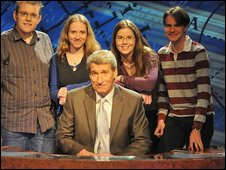 Corpus Christi team - with Gail second from right - on University Challenge