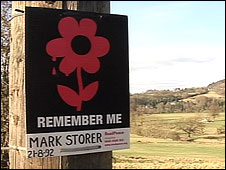 Roadside memorial to Mark Storer