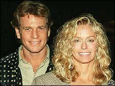 Fawcett with Ryan O'Neal in 1987
