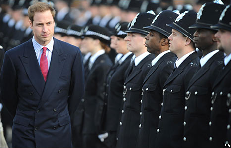 Prince William inspecting new police recruits