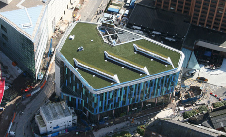 Aerial shot of Cardiff's new central library