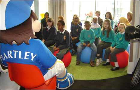 Children in the library's storytelling area