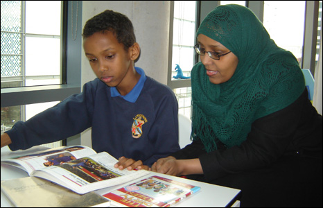 Ten-year-old Bilal Abdi and his mother Suhair Hassan