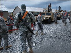US troops at Bagram air base, Afghanistan