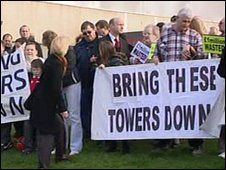 Protest at tower blocks