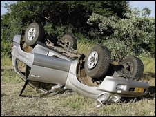 The vehicle Zimbabwean Prime Minister Morgan Tsvangirai was riding in during his accident on 6 March