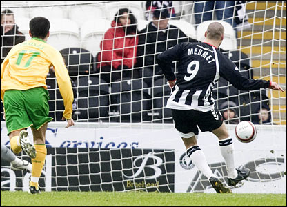 Billy Mehmet slots the ball home from the spot to fire St Mirren into the lead
