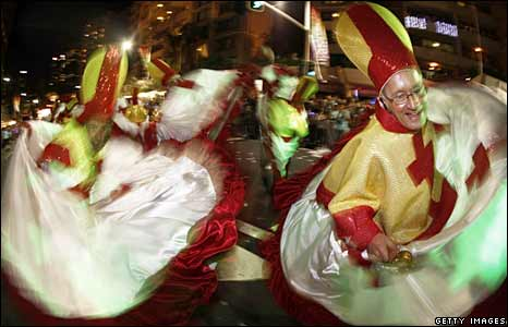 Revellers in Catholic bishop costumes at the Gay and Lesbian Mardi Gras in Sydney