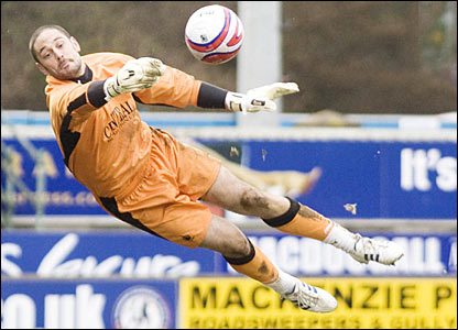 Falkirk keeper Dani Mallo pulls off a convincing save