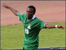 Zambia's Given Singuluma celebrates a goal