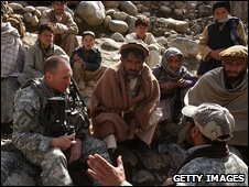 US Army sergeant speaks with villagers about the security situation in Main, Afghanistan, in February 2009