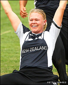 Kate Pulford celebrates taking the wicket of Shelley Nitschke