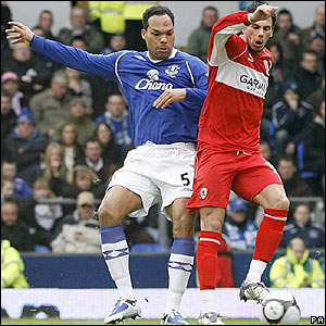 Lescott and Aliadiere tangle at Goodison Park