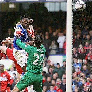 Saha's header beats Brad Jones