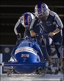 Minichiello and Cooke in action in bobsleigh