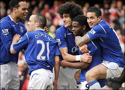 Everton celebrate their winning goal
