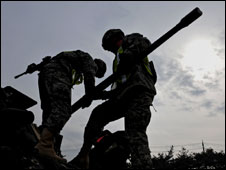 US troops check equipment in South Korea during preparations for the joint military exercise, 5 March