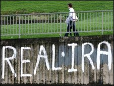 Real IRA slogan on a wall in the Bogside area of Londonderry