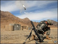 Troops fire mortar in Afghanistan