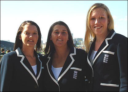 Sarah Taylor, Jenny Gunn and team analyst Gemma Broad