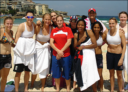 England team at Bondi Beach