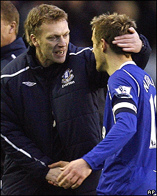 David Moyes celebrates with Phil Neville