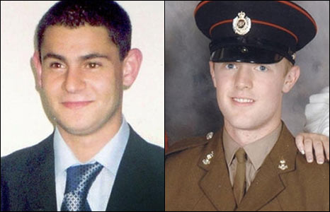Sappers Mark Quinsey, 23, from Birmingham and Cengiz 'Patrick' Azimka, 21, from Wood Green, London were killed at Massereene Army base in Antrim.