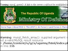 Screen grab of Uganda ministry of defence website