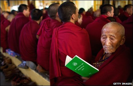 Tibetan Buddhist monks in Dharamsala, India, 9 March 2009