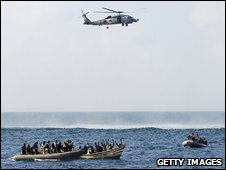 US Navy apprehends suspected pirates off the Gulf of Aden in February 2009