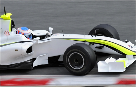 Jenson Button tests the new Brawn F1 car