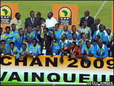 The DR Congo team celebrate winng the African Nations Championship