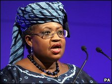 World Bank Managing Director Ngozi Okonjo-Iweala speaks at the Barbican in London, UK, 9 March 2009