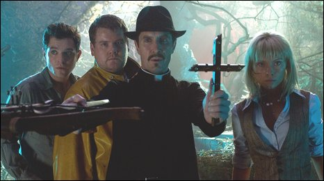 MATHEW HORNE as Jimmy McLaren, JAMES CORDEN as Fletch, PAUL MCGANN as The Vicar and MYANNA BURING as Lotte in LESBIAN VAMPIRE KILLERS